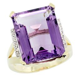 Natural 12.13 ctw Amethyst & Diamond Engagement Ring 14K Yellow Gold - REF-71A2V