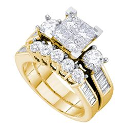 2 CTW Princess Diamond Bridal Engagement Ring 14KT Yellow Gold - REF-269X9Y