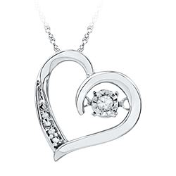 0.04 CTW Diamond Heart Love Twinkle Moving Pendant 10KT White Gold - REF-12K8W