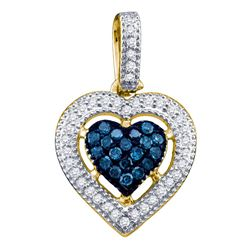 0.20 CTW Blue Color Diamond Framed Heart Pendant 10KT Yellow Gold - REF-14Y9X