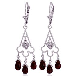Genuine 6.33 ctw Garnet & Diamond Earrings Jewelry 14KT White Gold - REF-52A3K