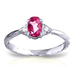 Genuine 0.46 ctw Pink Topaz & Diamond Ring Jewelry 14KT White Gold - REF-22W5Y