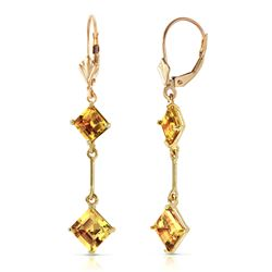 Genuine 3.75 ctw Citrine Earrings Jewelry 14KT Yellow Gold - REF-30V6W