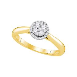 0.25 CTW Diamond Cluster Bridal Engagement Ring 14KT Yellow Gold - REF-37H5M
