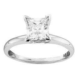 0.75 CTW Princess Diamond Solitaire Bridal Engagement Ring 14KT White Gold - REF-206K2W