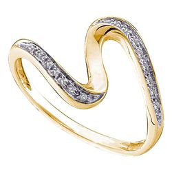 0.05 CTW Diamond S Curve Ring 14KT Yellow Gold - REF-12W2K