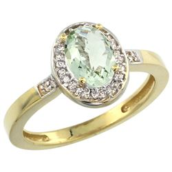 Natural 1.08 ctw Green-amethyst & Diamond Engagement Ring 10K Yellow Gold - REF-25V5F
