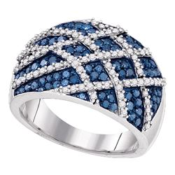 1.33 CTW Blue Color Diamond Cocktail Lattice Ring 10KT White Gold - REF-82N4F