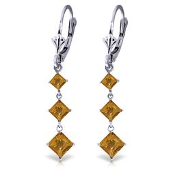 Genuine 4.79 ctw Citrine Earrings Jewelry 14KT White Gold - REF-50M2T