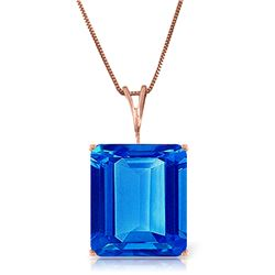 Genuine 7 ctw Blue Topaz Necklace Jewelry 14KT Rose Gold - REF-35W9Y