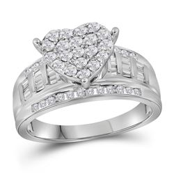 1.03 CTW Diamond Heart Bridal Engagement Ring 10KT White Gold - REF-71K3W