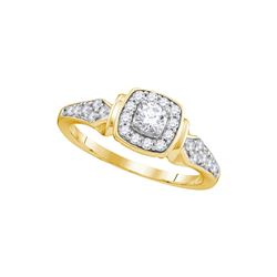 0.50 CTW Diamond Halo Bridal Engagement Anniversary Ring 10KT Yellow Gold - REF-52F4N