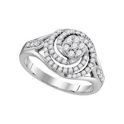 0.51 CTW Diamond Flower Swirl Ring 10KT White Gold - REF-59X9Y