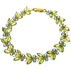 Genuine 16.5 ctw Blue Topaz & Peridot Bracelet Jewelry 14KT Yellow Gold - REF-179Z2N