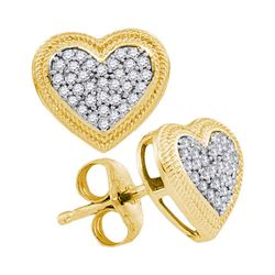 0.20 CTW Diamond Heart Earrings 10KT Yellow Gold - REF-22H4M