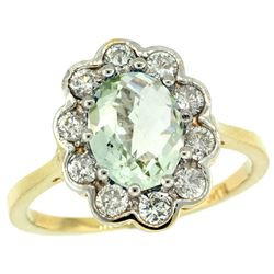 Natural 2.34 ctw Green-amethyst & Diamond Engagement Ring 14K Yellow Gold - REF-81X4A