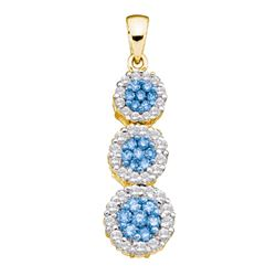 0.94 CTW Blue Color Diamond Triple Flower Cluster Pendant 14KT Yellow Gold - REF-59N9F