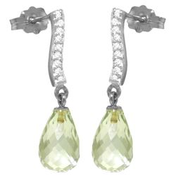 Genuine 4.78 ctw Green Amethyst & Diamond Earrings Jewelry 14KT White Gold - REF-46R2P