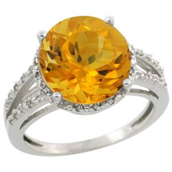 Natural 5.34 ctw Citrine & Diamond Engagement Ring 10K White Gold - REF-35X4A