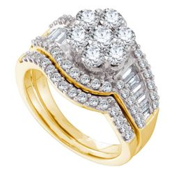2 CTW Diamond Cluster Bridal Engagement Ring 14KT Yellow Gold - REF-224Y9X