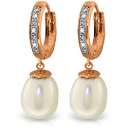 Genuine 8.03 ctw Pearl & Diamond Earrings Jewelry 14KT Rose Gold - REF-52P3H