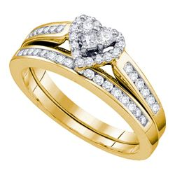 0.55 CTW Diamond Heart Bridal Engagement Ring 10KT Yellow Gold - REF-37X5Y