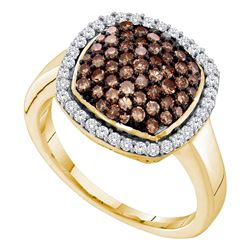 0.95 CTW Cognac-brown Color Diamond Square Cluster Ring 10KT Yellow Gold - REF-33M8H