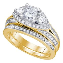 2.74 CTW Princess Diamond Bridal Engagement Ring 14KT Yellow Gold - REF-687X2Y