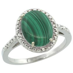 Natural 2.77 ctw Malachite & Diamond Engagement Ring 14K White Gold - REF-32W4K
