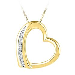 0.03 CTW Diamond Heart Love Pendant 10KT Yellow Gold - REF-6F2N