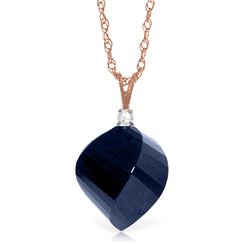 Genuine 15.3 ctw Sapphire & Diamond Necklace Jewelry 14KT Rose Gold - REF-31M4T