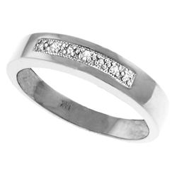 Genuine 0.02 ctw Diamond Anniversary Ring Jewelry 14KT White Gold - REF-46M2T