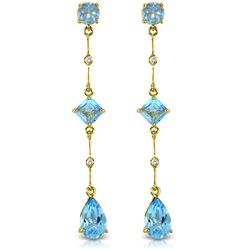 Genuine 6.06 ctw Blue Topaz & Diamond Earrings Jewelry 14KT Yellow Gold - REF-33M8T