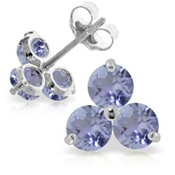 Genuine 1.50 ctw Tanzanite Earrings Jewelry 14KT White Gold - REF-25Z4N
