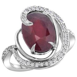 Natural 5.73 ctw ruby & Diamond Engagement Ring 14K White Gold - REF-78A7V