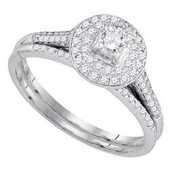 0.50 CTW Diamond Halo Bridal Engagement Ring 14KT White Gold - REF-59H9M