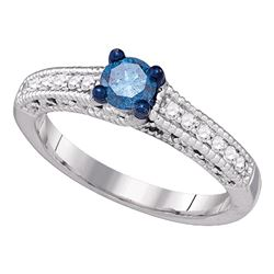 0.50 CTW Blue Color Diamond Milgrain Bridal Engagement Ring 10KT White Gold - REF-46Y4X