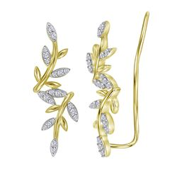 0.22 CTW Diamond Floral Earrings 10KT Yellow Gold - REF-22X4Y