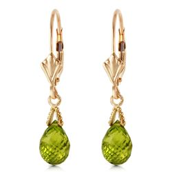 Genuine 4.5 ctw Peridot Earrings Jewelry 14KT Yellow Gold - REF-22X7M