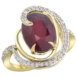 Natural 5.73 ctw ruby & Diamond Engagement Ring 14K Yellow Gold - REF-78F7N