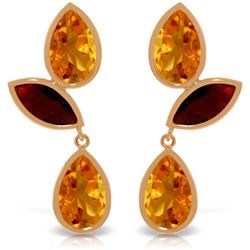 Genuine 13 ctw Citrine & Garnet Earrings Jewelry 14KT Rose Gold - REF-58H7X