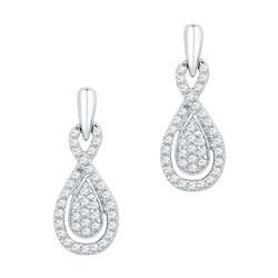 0.33 CTW Diamond Oval-shape Dangle Screwback Earrings 10KT White Gold - REF-28Y4X
