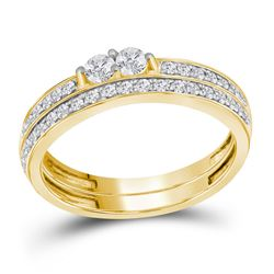 0.49 CTW Diamond 2-Stone Bridal Wedding Engagement Ring 10KT Yellow Gold - REF-38W9K