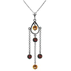 Genuine 1.50 ctw Citrine & Garnet Necklace Jewelry 14KT White Gold - REF-29K7V