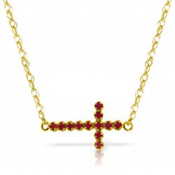 Genuine 0.30 CTW Ruby Necklace Jewelry 14KT Yellow Gold - REF-37N6R