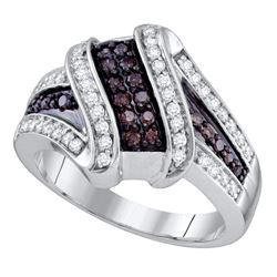 0.55 CTW Brown Color Diamond Crossover Ring 10KT White Gold - REF-49W5K