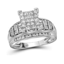 2 CTW Princess Diamond Cluster Bridal Engagement Ring 14KT White Gold - REF-149Y9X