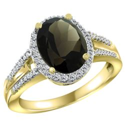 Natural 2.72 ctw smoky-topaz & Diamond Engagement Ring 10K Yellow Gold - REF-45Y3X