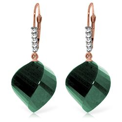 Genuine 30.65 ctw Green Sapphire Corundum & Diamond Earrings Jewelry 14KT Rose Gold - REF-62M3T