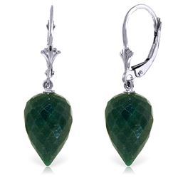 Genuine 25.7 ctw Green Sapphire Corundum Earrings Jewelry 14KT White Gold - REF-37K7V
